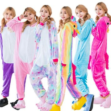Unisex Adult Winter Unicorn Pajamas 2018 Animal Pajama Sets Sexy Hooded Homewear Flannel Sleepwear Female Cute Cartoon Pyjama