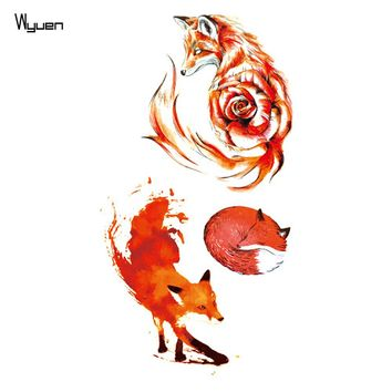 WYUEN Fox Women Temporary Tattoo Sticker Tattoos for Waterproof Men Animal Body Art Kids Girls Hand Fake Tatoo 10.5X6cm A-207