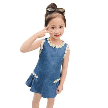 Toddler Kids Baby Girls Outfit Clothes Flower Denim Pageant Party Princess Dress