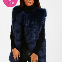 Lady Luxe Navy Faux Fur Gilet