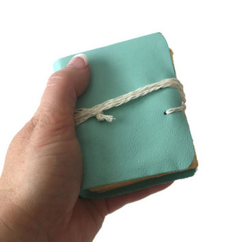 Leather Journal in Tiffany Blue - Wedding Book- gift, unique