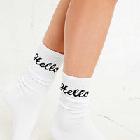 Ribbed Hello Socks in White - Urban Outfitters
