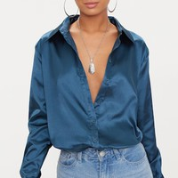 Teal Satin Button Front Shirt