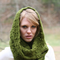 Olive Green - Textured Cowl Scarf