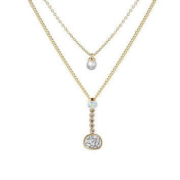 Gold Layered Necklace with Druzy Stone and Cubic Zirconia
