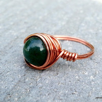 Green Jade and Copper Wire Wrapped Ring - Jade Gemstone Bead Wrapped in Recycled Copper Wire - Green Stone Ring - Made to Order Custom Ring