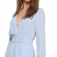 Light Blue V-neck Long Sleeve Pleated Romper