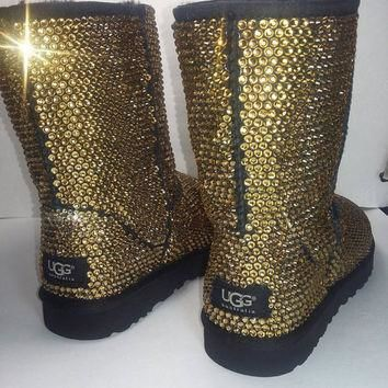 Custom Classic Ugg Boots, Black Classic Uggs, Swarovski Uggs, Uggs, Ugg Boots, Bedazzl
