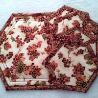 Autumn Decor, Hot Pad, Trivet, Quilted, Small, with 4 matching Coasters,