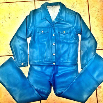 Blue leatherette matching jacket and pants