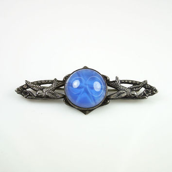 Art Deco Brooch Sterling Silver Blue Star Sapphire Glass Bird Antique Jewelry