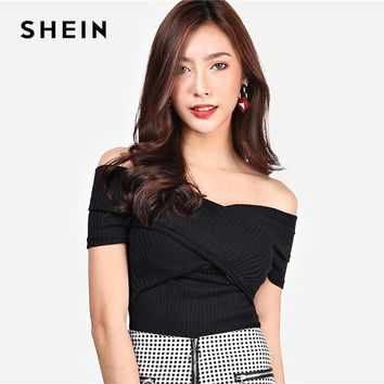 SHEIN Highstreet Black Wrap Design Bardot Ribbed Off the Shoulder Pullovers Top Autumn Casual Women Modern Lady Tshirt Top