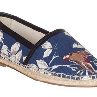 Dolce & Gabbana Men's Navy Blue Bird Print Espadrille Loafers Slip-On Shoes
