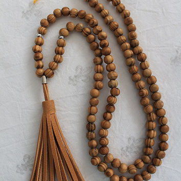 "Leather Tassel Necklaces Mala Yoga Tassel Necklaces Mustard Leather Tassel Bohemian Style Wooden Beads 33"" Loop"