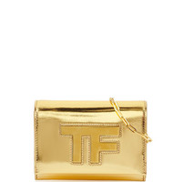 Tom Ford Mirror Leather Crossbody Clutch Bag, Gold