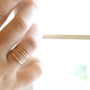 Signature Skinny Ring - 14k Gold Fill or Sterling Silver - Stacking Ring - Textured Ring - Hand Forged - Hammered Ring - Simple Gold Ring