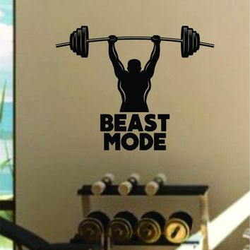 Beast Mode v4 Quote Fitness Health Work Out Gym Decal Sticker Wall Vinyl Art Wall Room Decor Weights Motivation Inspirational Lift