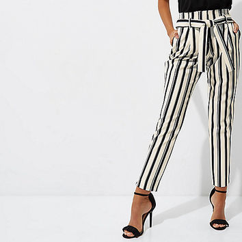 Black stripe tie waist tapered pants - Tapered Pants - Pants - women