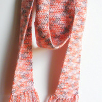 Ultra Soft Crochet Scarf with fringe in Peaches and Cream, ready to ship.