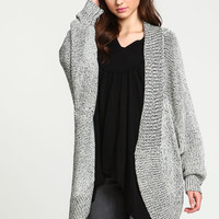 TWO TONE CHUNKY KNIT DOLMAN CARDIGAN