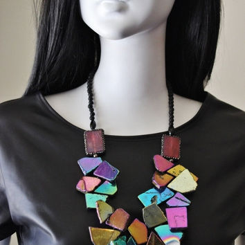 Rainbow necklace, metallic, wearable art, abstract, statement, metal treated, freeform, stone slabs, jewel tones.  One of a kind