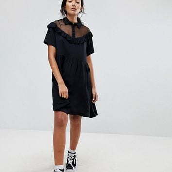 Lazy Oaf Bad For You Sheer Frilly Dress at asos.com