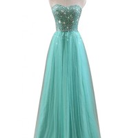 VILAVI Women's A-line Sweetheart Long Tulle Crystal Prom?Dresses
