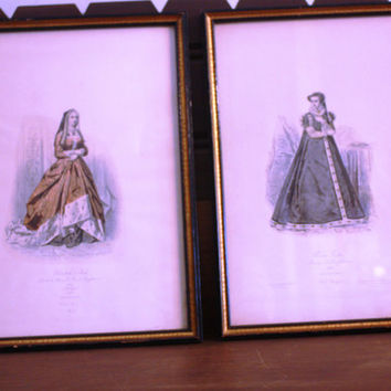 A Pair of Historic Prints Depicting Historic Modes of Dress from 1502 and 1558