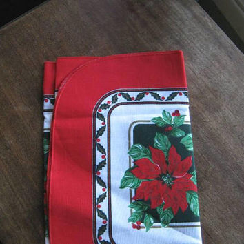 "Easy-Care Vintage Poinsettia Print Christmas Table Covers: Choose Red/Green 15 x 70"" Cotton Blend Runner or 88 x 100"" Vinyl Xmas Tablecloth"