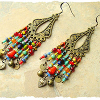 Boho Colorful Earrings, Bohemian, Junk Gypsy Earrings, Free Style Assemblage Earrings, bohostyleme, Kaye Kraus