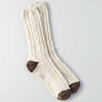 AEO Striped Cable Crew Socks, Cream