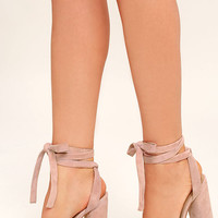 Steve Madden Clary Pink Suede Leather Lace-Up Heels