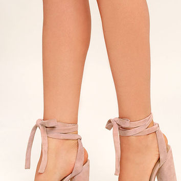 a381e0f3eb9 Steve Madden Clary Pink Suede Leather Lace-Up Heels