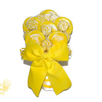 Yellow Lollipop Wedding Bouquet, Lollipop Bouquet, Yellow, Candy Bouquet, Yellow Bouquet, Summer Wedding, Bridal Bouquet, Bride