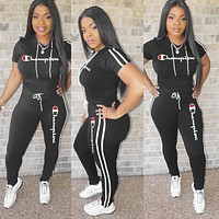 Champion Summer New Women Casual Embroidery Shorts Sleeve Top Trousers Set Two-Piece Black