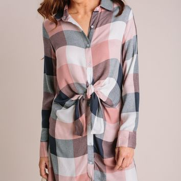 Donna Plaid Shirt Dress