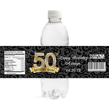 Diamond 50th Birthday Water Bottle Labels