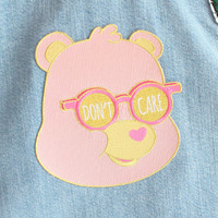 Don't Care Bear - Big Embroidered Iron-On Back Patch