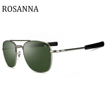 ROSANNA New Army MILITARY AO Sunglasses American Optical Glass Lens Alloy Frame vintage Pilot style Sunglasses Men Oculos De Sol
