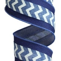"Wired Faux Burlap with Mini Chevron Ribbon-2.5"" x 10yds-Blue Denim- All the Makings"