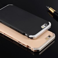 For iPhone 5 5s SE Ultra Slim Aluminum+PC Men's Solace Metal Mobile Phone Cases For Apple iPhone 6 6s 7 plus Case Cover Metal