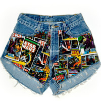 "ALL SIZES ""May the Force Be With You"" High Waisted Shorts"