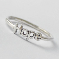 Hope Ring , 925 Sterling silver stacking ring with Inspiring words