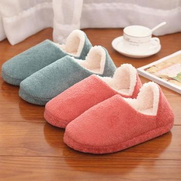 Men Women Soft Warm Indoor Slippers Cotton Sandal House Home Anti-slip Shoes = 1705243