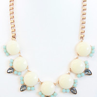 Ivory & Baby Blue Bubble Chain Necklace Set