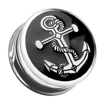 Anchor Enamel Embossed Double Flared Ear Gauge Plug