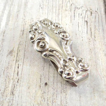 Antique Sterling Silver Money Clip, Art Nouveau Era 1890s