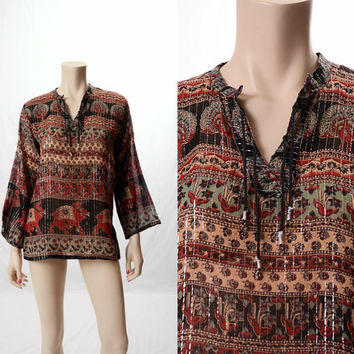 Vintage 70s India Sheer Cotton Black Gauze Metallic Top Hippie 1970s Peacocks Camels Birds Floral Boho Woodstock Tunic Blouse size XS-M