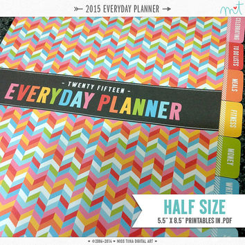 "2015 HS Everyday Planner Printables - PDF - 5.5"" x 8.5"" A5 Half Size - instant download"
