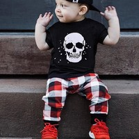 Infant Baby skull T shirt Plaid Pants Outfits 2Pcs Set
